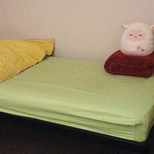 Bedframe with Comfortable Mattress, Comforter With Matching Pillow And Plush Throw on for Sale in Bethesda, MD