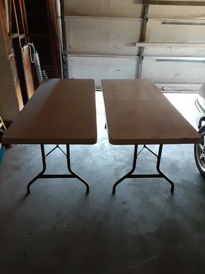 Two Lifetime Brand, White, Commercial Grade, Folding & Stackable 6' Tables for Sale in Fairfield, CA