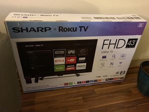 """Sharp 43"""" Roku TV w/ 3 yrs geek squad protection left for Sale in Houston, TX"""