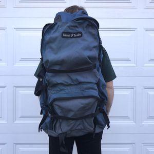Camp trails navy metal frame back packing adjustable backpack camping hiking for Sale in Union, NJ