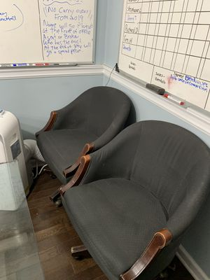 Two swivel chairs, black with wooden arms for Sale in New York, NY