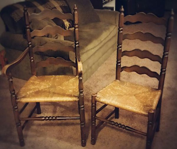 Vintage 1940s Tell City Ladder Back Rush Seat Chairs Set