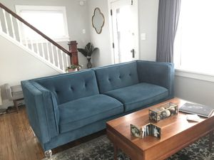 Teal Velvet Sofa w/ Acrylic Legs for Sale in Rocky River, OH