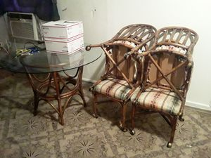 Bamboo kitchen table set an 2 small nice antique dressers for Sale in Holly Hill, FL