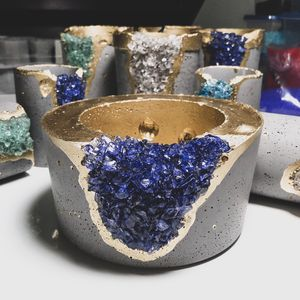Fire Bowl Indoor Table Top With Navy Blue Crystals | Indoor Fire Pit - Outdoor Portable Fireplace Fuel Cans for Sale in Highland Park, MI
