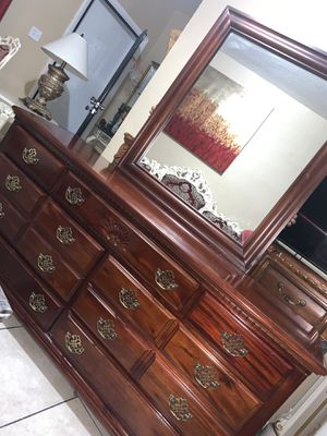 King bed frame dresser with mirrors chest drawers and two night stand with box springs no mattress for Sale in Miami, FL
