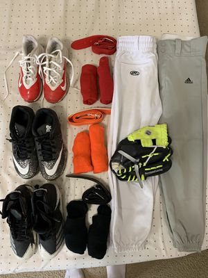 Boys baseball shoes pants glove socks belts Nike adidas for Sale in Sun City, TX