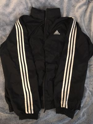Adidas wind breaker black windbreaker jacket Medium M men for Sale in Wichita, KS