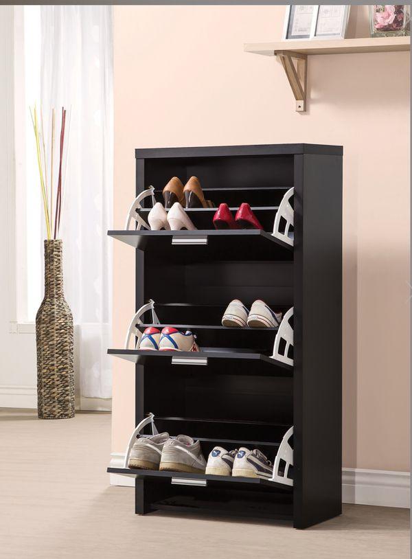 Shoe storage Black Wood New