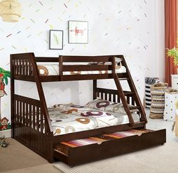 DARK WALNUT FINISH MISSION STYLE TWIN OVER FULL SIZE BUNK BED FRAME + TRUNDLE - CAMA LITERA for Sale in Bell Gardens,  CA