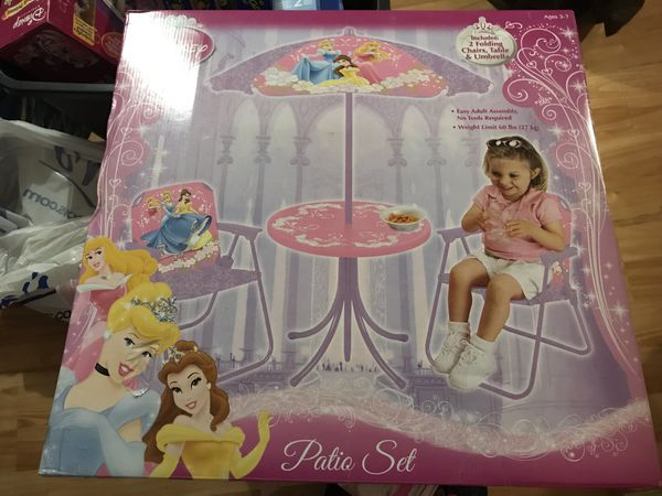 Disney princess children's patio furniture set - New in box - Rare from 2010 and sold out. Perfect for spring outside! *Serious inquiries only please