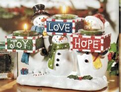 *NEW PICS ADDED!* Yankee Candle Joy Hope Love Christmas 3 Snowmen Tea Light Holder 🎄☃️❤️ for Sale in Nolensville, TN