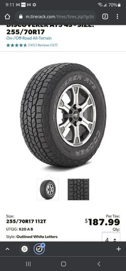 4 Cooper discovery 255/70/17 HTP tires with rims 6x139.7 6x5.5 Chevy, gmc, Toyota and Mitsubishi for Sale in Oak Lawn,  IL