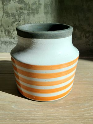 Cute plant pot with orange stripes for Sale in Los Angeles, CA