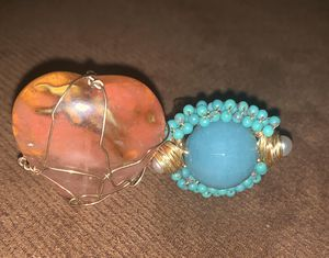 One Amber stone and one natural turquoise and pearls stone ring adjustable. Both for $110 for Sale in Cypress, CA