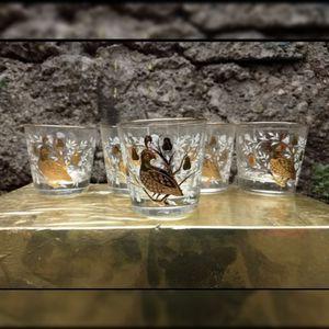 Vintage Libby gold white glasses set of 5 quail for Sale in Monterey Park, CA