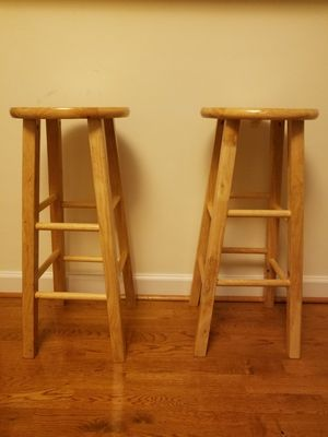 Two Brown Wooden Bar Stools for Sale in Washington, DC