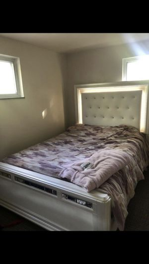 White Light-Up Bed, Mattress & Dresser for Sale in Pittsburgh, PA