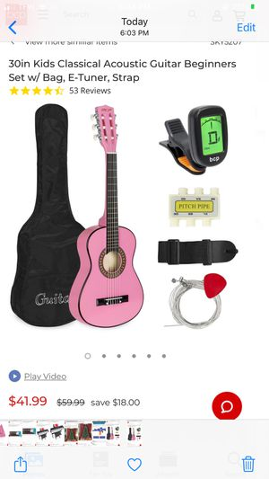Brand new 30in Kids Classical Acoustic Guitar Beginners Set w/ Bag, E-Tuner, Strap for Sale in Dearborn Heights, MI