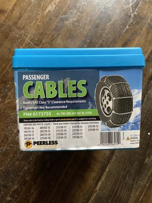 Passenger Cables. Peerless Snow Chains SAE Class S. PN#0173755 NEW! for Sale in Denver, CO