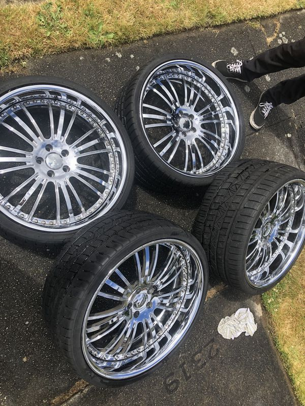 "22"" Forgeline chrome rims"