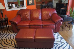 LEATHER SOFA/OTTOMAN for Sale in Irmo, SC