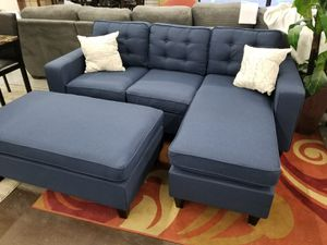 Navy blue sectional with ottoman b for Sale in Sacramento, CA