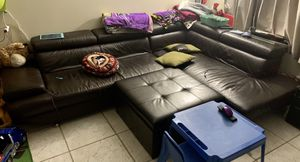 L Shape Leather Couch for Sale in Palm Springs, FL