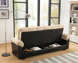 BEIGE Fabric FUTON Sofa Bed with Storage for Sale in Highland, CA