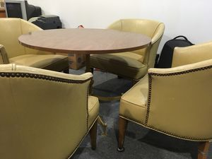 Table and Leather Chairs for Sale in Marlboro Township, NJ