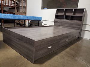 Twin Size 3-Drawer Storage Bed Frame with Bookcase Headboard, Distressed Grey for Sale in Santa Ana, CA