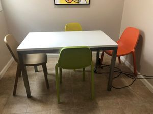 Modern & fun Crate & Barrel table & emeco broom stacking chair set for Sale in San Leandro, CA