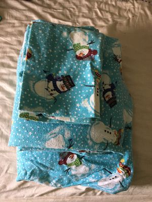 Flannel sheet set two pillows one fitted sheet snowmen for Sale in Lititz, PA