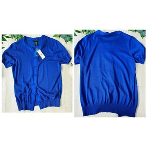 New York & Company Medium Short Sleeves Cardigan Blue Crewneck 4585 New for Sale in Kissimmee, FL