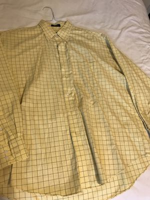 Men's van heusen yellow check plaid 16-16 1/2 cotton poplin shirt for Sale in Taylors, SC