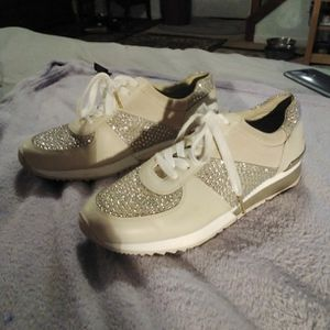 Michael Kors Bling Sneakers Size 8.5 Medium New Too Small For Me Wish I Could Wear Them for Sale in West Haven, CT