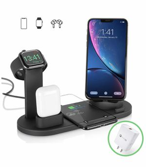 2020 Upgraded Wireless Charger JNK 3 in 1 Wireless charging station for Apple Qi Fast Wireless Charger Stand Dock for iWatch 5/4/3/2/1 iPhone 11 X XS for Sale in Huntington Beach, CA