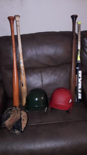 SOFTBALL BAT 2 WOODEN BATS 1 MAPLE BAMBOO BAT 2 HELMETS FIRST BASEMAN GLOVE ...NOT FREE....FREE TO MAKE AN OFFER for Sale in Miami, FL