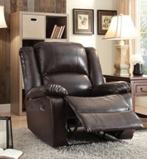 Brown faux leather recliner finger pull recliner for Sale in Fort Lauderdale, FL