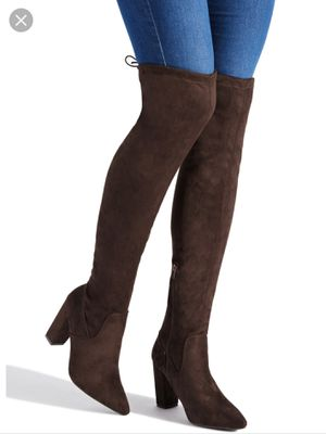 Women Brand new never worn brown suede chunky thigh high boots Size 8.5 for Sale in Zephyrhills, FL