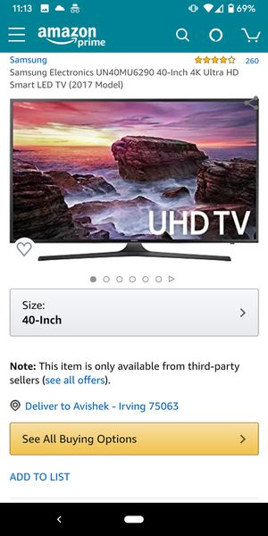 """Like New Samsung 40"""" 4K TV UN40KU6290F for Sale in Irving, TX"""