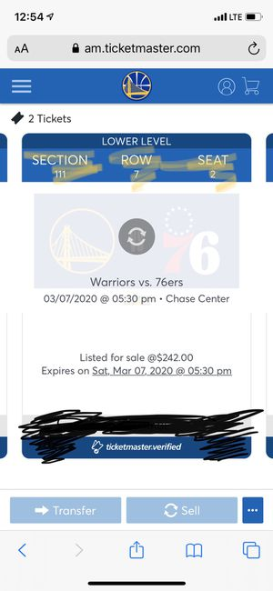 Warriors tickets for Sale in Concord, CA