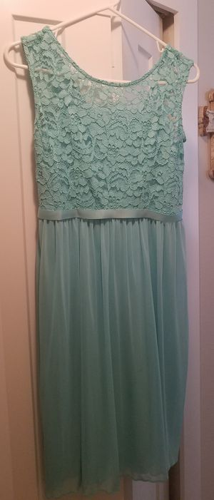 David's Bridal girls size 18 teal/spa bridesmaid flowergirl wedding dress for Sale in Pinellas Park, FL