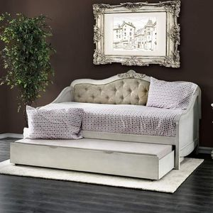 ANTIQUE WHITE BEIGE FLORAL CREST TWIN SIZE DAYBED + TRUNDLE DAY BED for Sale in Riverside, CA