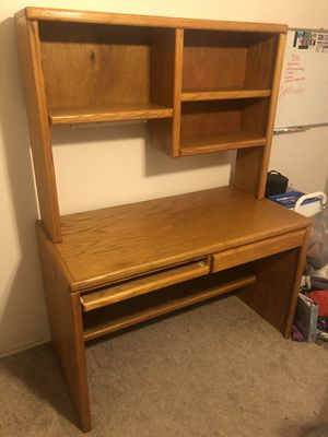 Solid wooden desk with shelving unit for Sale in Watauga, TX