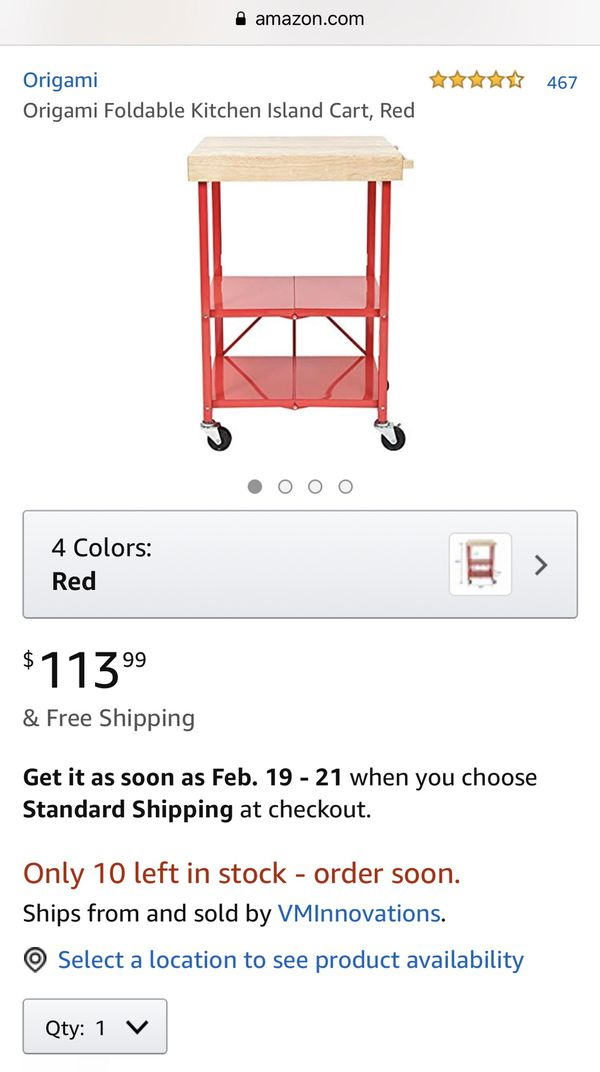 New Origami Foldable Kitchen Island Cart, Red rbt-06