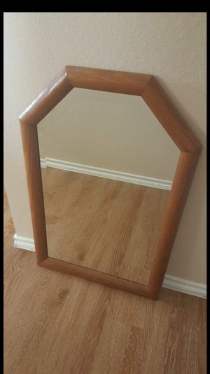 """Very heavy Lovely Vintage solid wood framed Beveled Glass Octagonal Rectangular Wall Mirror ( 29.5""""H x 19.25""""W ) - FIRM PRICE for Sale in Leander, TX"""