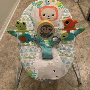 Bright Starts Spinnin' Safari Vibrating Baby Bouncer (like new) for Sale in Ormond Beach, FL