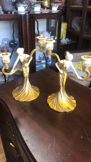 Pair of gold lady candle holder candle sticks pick up la Mesa for Sale in San Diego, CA