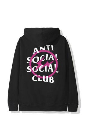 Anti Social Social Club x Fragment Pink Bolt Hoodie Black for Sale in Villa Park, CA